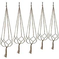 Set de 5 colgadores con anilla para macetas, para la decoración de interiores y exteriores; 2unidades de 105cm y 2 de 88cm; con 4 patas