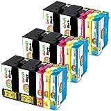 Gohepi Cartouches d'encre 27XL Remplacer pour Epson 27XL Grande Capacité Compatible avec Epson Workforce WF 3620 3640 7610 7620 7110 Imprimante (6 Noir, 3 Cyan, 3 Magenta, 3 Jaune)