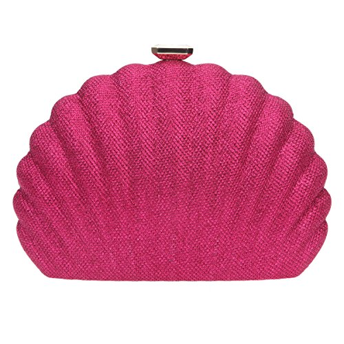 Bonjanvye Shell Shape Evening Clutches for Wedding and Party Bag for Women Brown rose