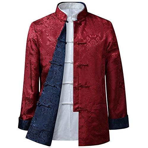DAZISEN Die Kampfsport Tai Chi Jacke der Herren/Damen - Mode Beide Seiten Mantel Oberteile Langarm Tang-Anzug, L/Stil 02 - Männer