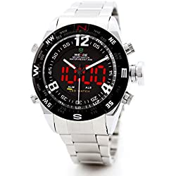 Alienwork DualTime LED Analogue-Digital Watch Chronograph Wristwatch Multi-function Stainless Steel black silver OS.WH-2310-2-R1