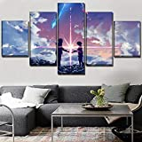 HY.Bohu wall decor Modular Canvas Paintings Framework Home Decor 5 Pieces Anime Movie Your Name Poster HD Printed Pictures Living Room Wall Art