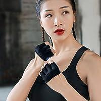 Guantes de yoga - Guantes deportivos fitness cuatro dedos Hombres y Mujeres al aire libre Fitness Entrenamiento Antena Yoga antideslizante Guantes de verano transpirable, color azul, tamaño Medium