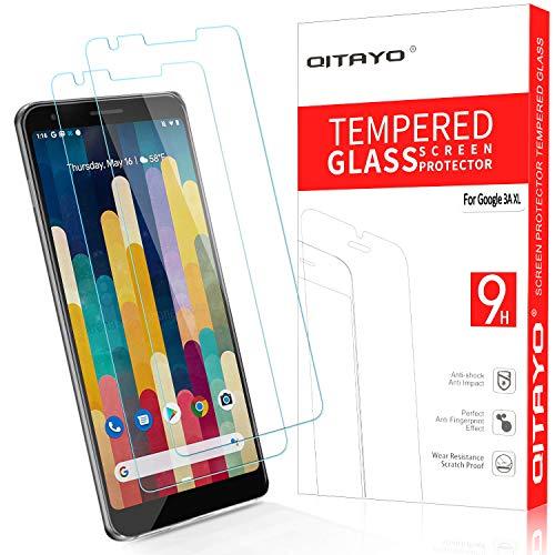 QITAYO Panzerglas Schutzfolie für Google Pixel 3A XL[2 Stück] [2.5D Rand][Blasenfrei] [Anti vor Fingerabdruck] [Einfache Installation] Google Pixel 3A XL Folie Glas Bildschirmschutzfolie