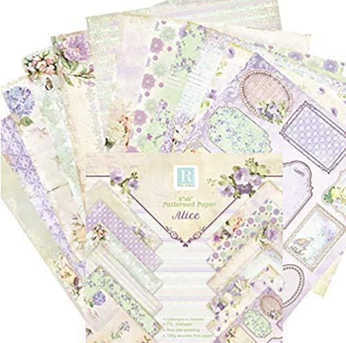 Shuny 72 Pcs Scrapbooking Papier,15,2 x 15,2 cm Papierblock,Designpapier,Gemustertes Karton Bastelpapier mit Vintage Design für DIY Handwerk Foto Hintergrund Deko