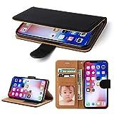 iPhone X Hülle, SOWOKO Leder Etui Flip Case Handyhülle für iPhone X Brieftasche Tasche mit Integrierten Kartensteckplätzen und Ständer /Magnetverschluss,Schwarz