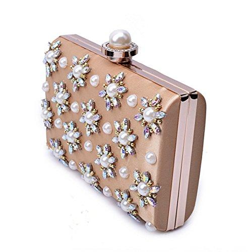 I Diamanti Di Modo Delle Signore Di Sera Handmade High-end Sacchetto Borsa Pearl Sera Delle Signore Gold
