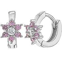 925 Sterling Silver Pink CZ Tiny Baby Girls Flower Hoop Huggie Earrings 0.27