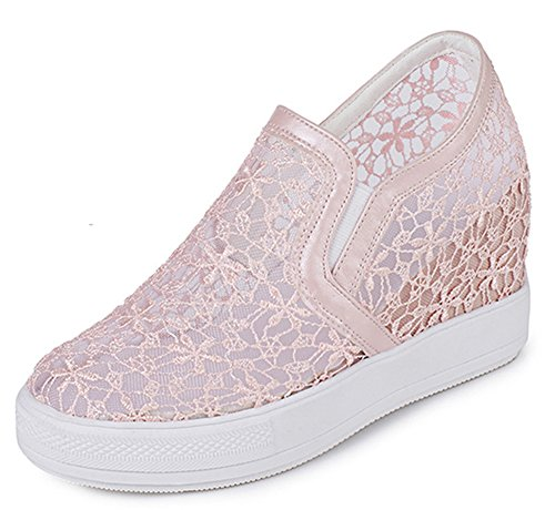 Aisun Femme Confortable Dentelle Talon Compensé Sneakers Rose