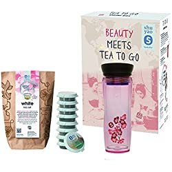 Shuyao Beauty Starter Box Tea to Go Thermobecher pink (360ml) mit Integriertem Teesieb + Loser Tee 27g