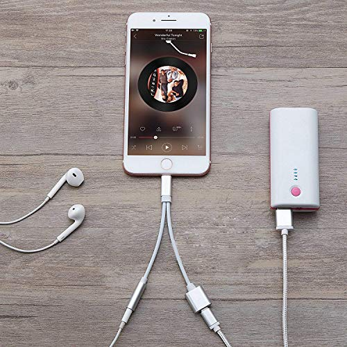 Kopfhörer Adapter für Phone 8/8Plus X 2 in 1 Beleuchtungsbuchse auf 3,5 mm Kopfhörer-Adapter für iPhone AUX-Konverter für KopfhörerbuchseSplitterkabel, kompatibel mit iOS 10.3/11.4, silberfarben - 3