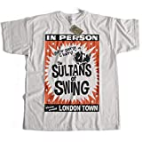 Old Skool Hooligans Inspired by Dire Straits T shirt - suntans of swing poster xl white
