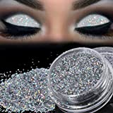 Hkfv incomparabile unico Charming Fashion ombretto polvere design frizzante argento glitter cipria in polvere ombretto ombretto pigmento highlight Best trucco Decor for Night party Superb attraente Silver