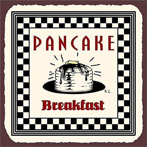 Pancake Breakfast Vintage Metal Art Retro Metal Tin Sign 12X12 Inches Square Metal Signs Vintage