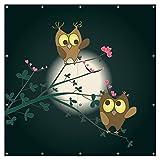 Wallario XXL Garten-Poster Outdoor-Poster - Süße verliebte Eulen auf dem Ast bei Nacht im Mondschein in Premiumqualität, für den Außeneinsatz geeignet