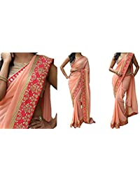 Sarees ( Peach Color Georgette Fabric Doriwork Saree, New Arrival Latest Best Choice And Design Beautiful Sarees...