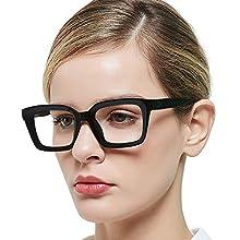 OCCI CHIARI Reading Glasses for Women, Ladies Lightweight Readers, Glasses Durable Spring Hinge (Black)