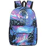 Unisex Universo Azul Casual Mochila Moda Galaxy y musica Pattern Print Mochila bandolera tela oxford mochila viaje mochila con fluorescencia