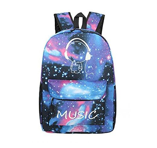 Imagen de unisex universo azul casual  moda galaxy y musica pattern print  bandolera tela oxford  viaje  con fluorescencia