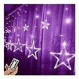 ZBM--ZBM Luci della Tenda della Stella del LED, 168 Luci A Tendina Corde Stringa LED for Giardino Matrimonio Natale Interiore All'aperto, Viola luci fatate
