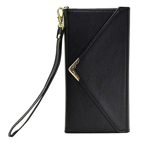 iPhone Case Cover Normallack-Fall V-Art-Verschluss-Umschlag-Muster PU-lederner Mappen-Kasten mit Handbügel für IPhone 7 plus 5.5 Zoll ( Color : White , Size : IPhone 7 Plus ) Black