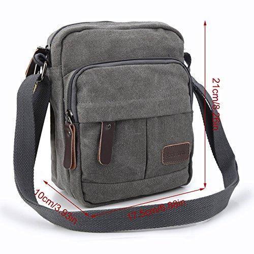 Koolertron Männer Retro Kleine Leinwand-Cross Body Handtasche 17.5x21x10 cm (grau) grau