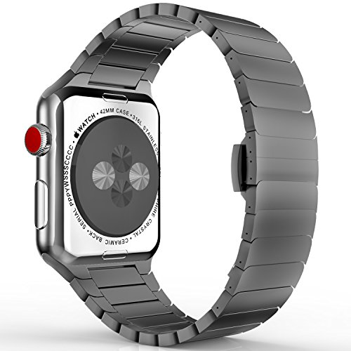 MoKo Strap for Apple Watch SERIES 1 / 2 / 3 - Replacement Smartwatch Band Stainless Steel Watch Bracelete with Pin Buckle Butterfly Bracelet for 2015 & 2016 & 2017 & Nike + Apple Watch 42mm, Space Gray