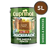 Cuprinol 5 Year Ducksback 5 L Autumn Gold - Tintes para maderas de exterior (En vallas y cercados, Shed, 5 L, 5 m²/L, Autumn Gold, Al agua, Translúcid