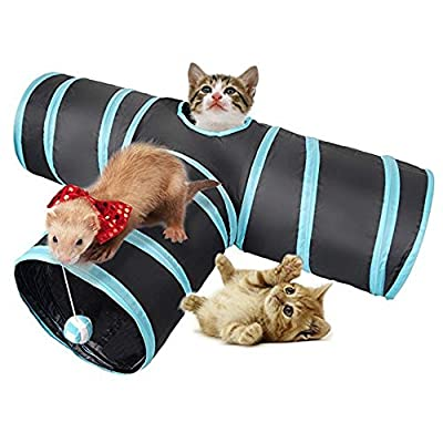 Dono Cat Tunnel Toy Pet Tunnels and Tubes With Peep Hole Design Collapsible 3-way Cat Tunnel Toy with Crinkle by Yiwu Honghe