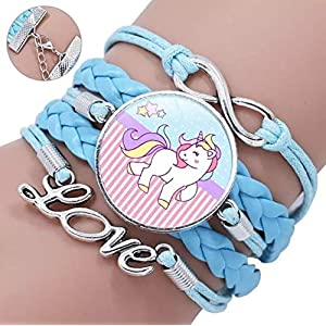 Armband Cabochon Einhorn hell-blau Infinity Love Anhänger Leder-armband geflochten mehrreihig Glascabochon rund 25mm verstellbar handmade Kinder Schmuck Geschenk
