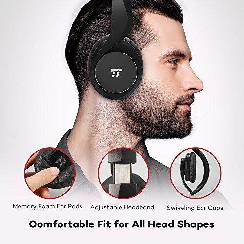 TaoTronics Bluetooth Kopfhörer Over Ear Headset 25 Stunden Spielzeit, Einstellbar mit CVC 6.0 Mikro, Zusammenklappbares Design mit on-Ear-Steuerung - 2