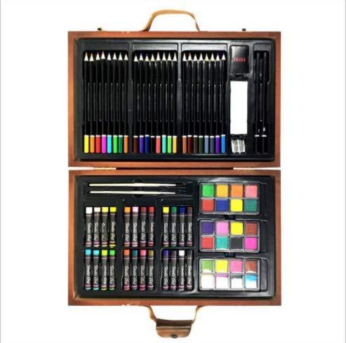 (WENZHEN H & B 79 Kinder Malerei Schreibwaren Geschenkbox Holzkiste Kunst Malerei Set Pinsel Geschenkbox)