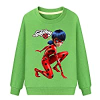 BSHDUFN Miraculous Ladybug Sweatshirt Boys and Girls Cotton Sweater Baby Long Sleeve Breathable Moisture Perspiration Pullover Miraculous Ladybug Pullover (Color : Green, Size : 110)