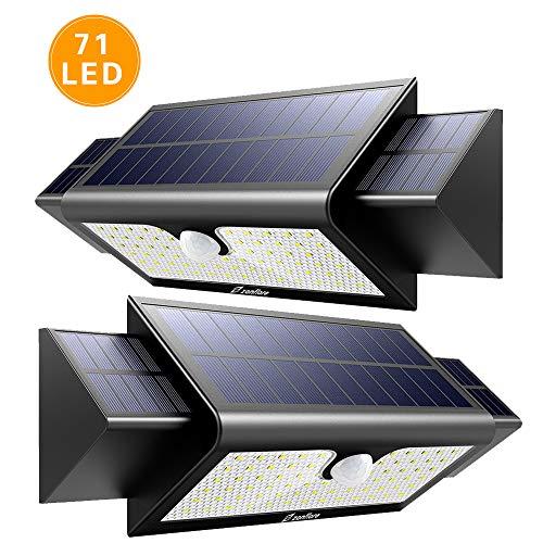 Zanflare Lámpara Solar (71 LED 2 Pack) Zanflare Lámpara Solar con Sensor de Movimiento 71 LED Luz, Lámpara de Panel Solar Movimiento y Energía Solar Impermeable Luminosa Seguridad al Aire Libre