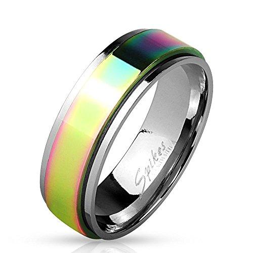 PINNER-RING Edelstahl Regenbogen - EDELSTAHLRING silber mit buntem, drehbarem Mittelring - SCHMUCKRING für Damen & Herren / Frau & Mann - dezenter LGBT Gay Pride Rainbow Ring (Gay-pride-geburtstag)
