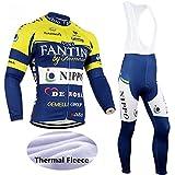 logas Herren Langarm Radtrikot Kit Winter Thermo Fleece Fahrradtrikot und Trägerhose für Outdoor Sports