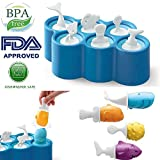 AOLVO Popsicle Formen, Fisch Popsicle Formen BPA-frei waschbar wiederverwendbar 100% Lebensmittelqualität Silikon Popsi