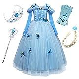 FStory&Winyee Mädchen Prinzessin Kleid Kinder Cinderella Kostüm Cosplay Schmetterling Blau Karneval Party Verkleidung Fasching kostüm Weihnachten Halloween Fest