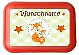 wolga-kreativ Aufkleber wasserfest süßer Fuchs für Brotdose oder Trinkflasche mit Name personalisiert