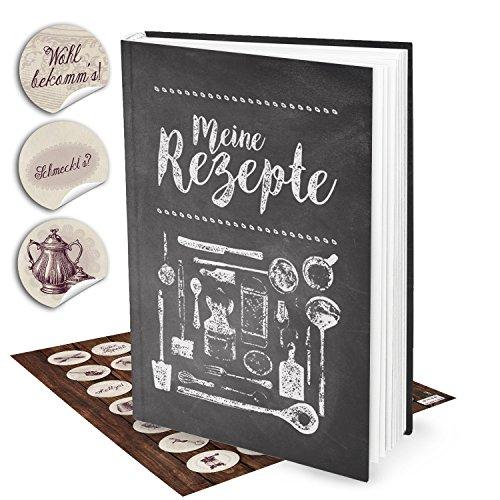 Geschenk-Set: XXL Rezeptbuch zum Selberschreiben TAFEL-KREIDE-LOOK + 35 vintage Küchen-Aufkleber...