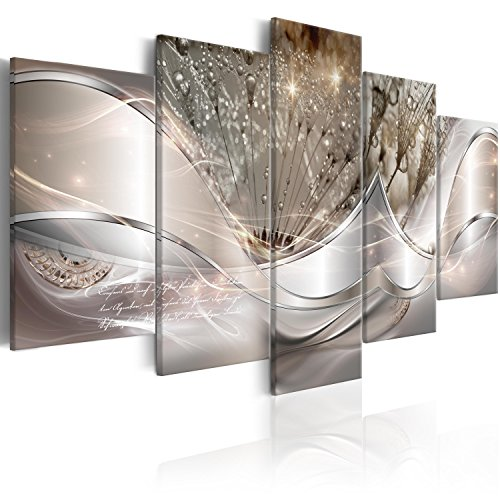murando Impression sur Toile intissee Abstrait Fleurs 100x50 cm 5 Parties Tableau Tableaux Decoration Murale Photo Image Artistique Photographie Graphique Pissenlit a-C-0087-b-n