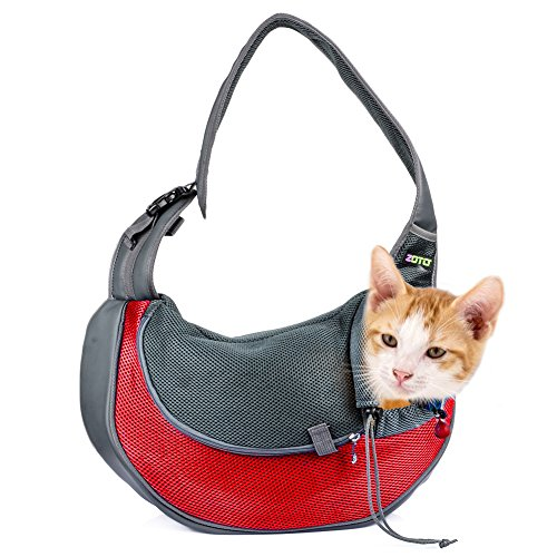 Cat-Carrier-BagZOTO-Lightweight-Dog-Sling-Pouch-Carrier-High-Security-Pet-Shoulder-Bag-Breathable-Mesh-Soft-Padded-Small-DogRabbitTeacupCat-Travel-Carrier