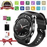 Kindak Kompatibel für Handys Smartphones & Android Bluetooth Smartwatch Wasserdicht Smart Watch mit SIM Kartenslot Whatsapp Touchscreen Damen Herren Intelligente Armbanduhr Sport Armband