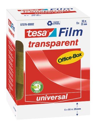 tesafilm Klebeband, transparent, Office-Box mit 6 Rollen, 66m x 25mm (6 Klebeband X)