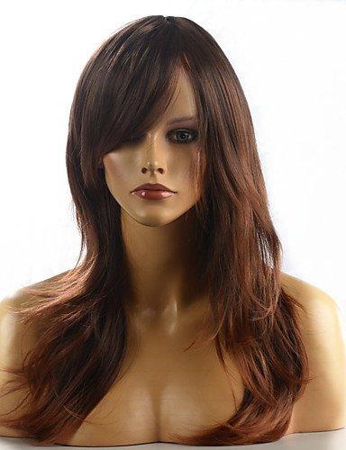 BBDM femmes résistantes cheveux longs synthétique de chaleur la perruque de mode ombre naturelle brune ondulée 8858-4t30 24 \\