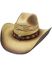 Modestone Unisex Straw Sombrero Vaquero Metal Bull Concho Studs Hatband Tan 976d5b8eded