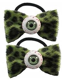 Kreepsville Gothic Haargummi Set Augen Schleife leo grün