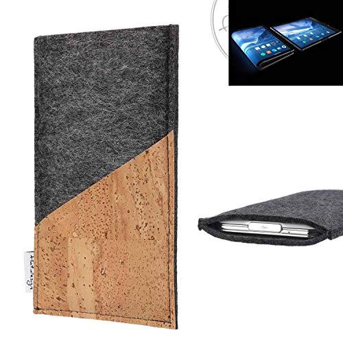flat.design Handy Hülle Evora für Royole FlexPai handgefertigte Handytasche Kork Filz Tasche Case fair dunkelgrau