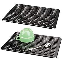 mDesign Juego de 2 útiles tapetes para fregaderos – Práctico protector de fregadero de plástico para