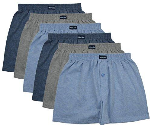 MioRalini 6 Herren Boxershorts in klassischen Farben 100% Baumwolle ohne Seitennaht Seamless Grösse 5 -10 (4XL-10, Set07) Damen-unterwäsche Jungen, Shorts Pack